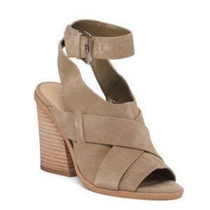 MARC FISHER Valen Suede Leather Nude/Taupe Sandal